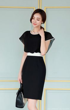 527b6b5eaaa Contrast Color Trim Chiffon Detail Dress