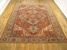 "Persian: Geometric 12' 7"" x 10' 1"" Antique Heriz at Persian Gallery New York - Antique Decorative Carpets & Period Tapestries"