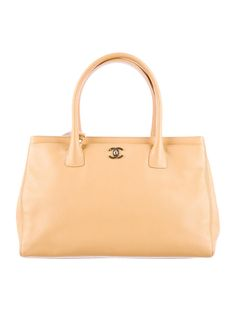 Tan leather Chanel Cerf Tote