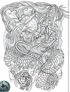 Foo Dog Tattoo, C Tattoo, Lion Tattoo, Dragon Tattoo Colour, Japanese Snake Tattoo, Old Scool, Back Tattoos For Guys, Oriental Tattoo, Hybrid Design