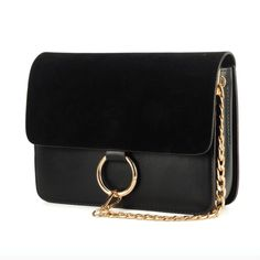 Faux Suede Crossbody Bag Patchwork Chain Handbag Suede & PU Leather Top Quality Fashion Women Bags Item Type: Handbags Exterior: None Size: Number of Stella Bag, Clutch Mini, Black Crossbody Purse, Purse Styles, Metal Chain, Metal Ring, Cross Body Handbags, Mini Bag, Suede Leather