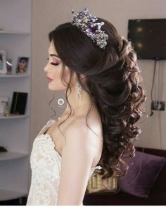 15 Lavish Wedding Hairstyle Ideas You Can Copy - Fashiotopia Gorgeous Wedding Hairstyle With Crown 1 Wedding Hairstyles With Crown, Indian Bridal Hairstyles, Bride Hairstyles, Hairstyle Ideas, Gorgeous Hairstyles, Office Hairstyles, Stylish Hairstyles, Hairstyle Wedding, Easy Hairstyles
