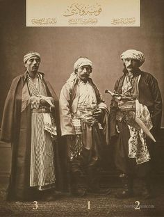 Clothing from province of Konya, Ottoman Empire. 1-Christian of Konya. 2-Muslim horseman of Konya. 3-Resident of Elmali. Istanbul. 1873.