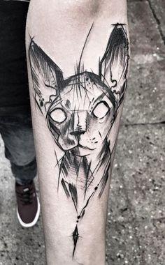 Inez Janiak cat tattoo Piercings, Piercing Tattoo, Tattoo Sketches, Tattoo Drawings, Sphynx Cat Tattoo, Sketchy Tattoo, Cat Tattoo Designs, Top Tattoos, Art Poses