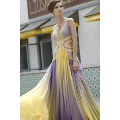 Purple And Yellow V Neck Prom Pageant Dress Sa80322 Dresses 2017