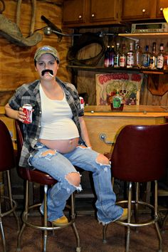 Maternity Halloween Costume Idea Beer Belly Redneck Pregnant Hillbilly
