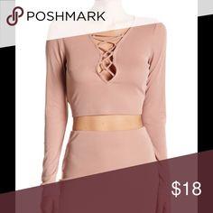 Ribbed Long Sleeve Lace -up Blouse 🔥Coming Soon! Tan Long Sleeve Free Press Tops Crop Tops