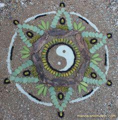 Mandala Art Medium: ~~white earth clay, creek bed sand, bush berry, acorn, tree bark, small green bush berry bundles, bush leaf and manzanit...