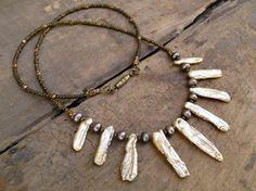 Biwa Pearl Necklace rustic tribal necklace von ArtifactsEtCetera