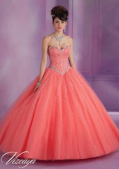 89007 Tulle Quinceanera Gown with Beading