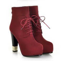 $34.99 Red Scrub Lace Up Metal Detail Chunky Heel Booties @ MayKool.com
