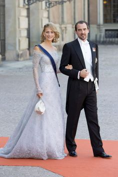 Beautiful Princess Tatiana of Greece in a Celia Kritharioti Haute Couture creation attending the wedding of Prince Carl Philip and Sofia Hellqvist with her husband Prince Nikolaos.