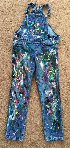 Kids splatter paint jeans. Colorful Artsy denim pants overalls