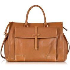 The Bridge Mahe Cognac Leather Handbag ($1,645) ❤ liked on Polyvore featuring bags, handbags, genuine leather handbags, genuine leather purse, zip top bag, cognac leather handbags and cognac leather bag