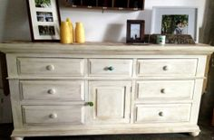 "Annie Sloan ""Old White"" Dresser. Hand Distressed with Glass Knobs. Natural Wood finish underneath."