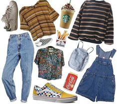 dungarees made from medium blue denim, a striped t-shirt and jumper, multicolored floral shir Diy Outfits, Outfits Casual, Neue Outfits, Grunge Outfits, Hipster Outfits, Classy Outfits, Work Outfits, Summer Outfits, Fashion Guys