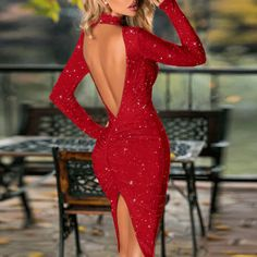 Glitter Mock Neck Backless Ruched Slit Bodycon Dress Women's Online Shopping Offering Huge Discounts on Dresses, Lingerie , Jumpsuits , Swimwear, Tops and More. Dresses For Less, 15 Dresses, Elegant Dresses, Casual Dresses, Fashion Dresses, Bodycon Dress Parties, Party Dress, Long Sleeve Midi Dress, Bridesmaids