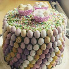 Easter egg cake with Cadbury mini eggs nest