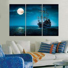 #Home #Décor #Wall #Art #Kids #Room #bedroom #panel #canvas #large #print  #homedecor #decoration #interior #design #designer #beautiful #woodwork #handmade #More #Ship #Sea #Moonlight