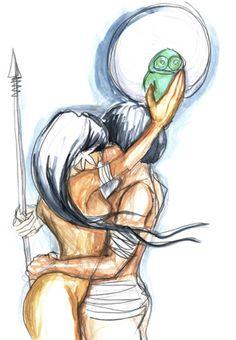 MUIRAQUITA, Antigamente havia uma tribo de mulheres guerreiras, as ICAMIABAS, que não tinham marido e não deixavam ninguém se aproximar de sua taba. Manejavam o arco e a flecha com uma perícia extraordinária. Parece que Iací , a lua, as protegia. Uma vez por ano recebiam em sua taba os guerreiros Guacaris, como se fossem seus maridos. Se nascesse uma criança masculina era entregue aos guerreiros para criá-los, se fosse uma menina ficavam com ela