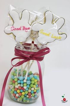 Wave Goodbye~ Farewell treats to your colleagues Mickey Hand Cookie Pops