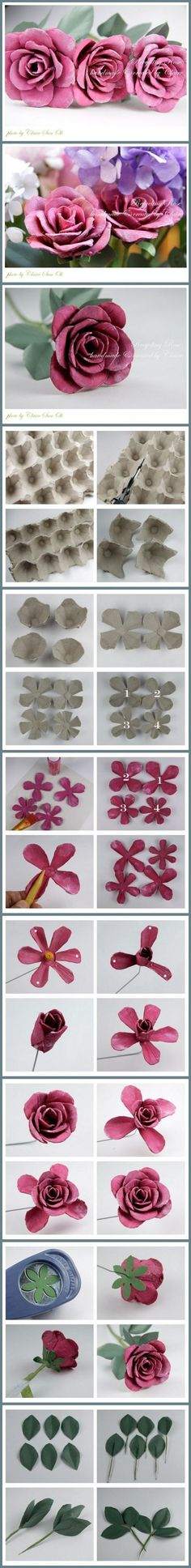 How to recycle Egg packing Boxes into beautiful rose flowers step by step DIY tutorial instructions / How To Instructions