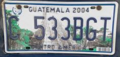 Number plate Guatemala Licence Plates, Number Plates, Cover Pics, Autos, License Plates