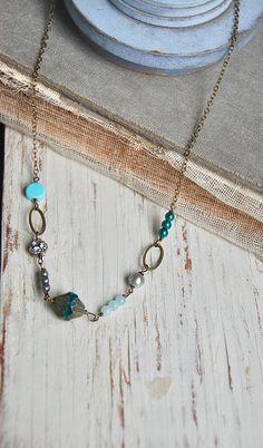 Long gemstone beaded necklaceperuvian opal necklace layering