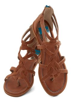 Campfire State of Mind Sandal in Whiskey. These starry skies will make you feel brand new, and these strappy sandals by BC Footwear will inspire you - to relax! #brown #modcloth
