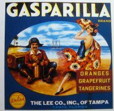 Florida FL Tampa Gasparilla Pirate Orange Citrus Fruit Crate Box Label Art Print - Florida Citrus Fruit Crate Label Art Prints - Fruit and Vegetable Crate Label Art Prints Vintage Labels, Vintage Ads, Vintage Signs, Vintage Posters, Gasparilla Tampa, Orange Crate Labels, Label Art, Vegetable Crates, Florida Oranges