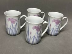 "Set of 4 The Toscany Collection Ceramic Coffee Mugs ""Printemps"" Iris Design NIB #ToscanyCollection Tea Cup Set, Ny Collection, Cupping Set, Iris, Coffee Mugs, Ceramics, Tableware, Ebay, Design"