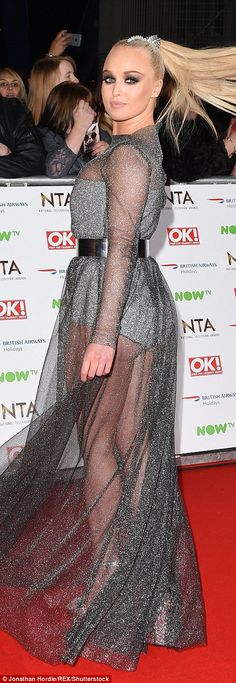 Jorgie wasn't afraid to show her pert derriere in this dress with just a bodysuit beneath the sheer layer to hide her modesty Georgie Porter, National Tv Awards, Hollyoaks, Fashion Fail, In The Flesh, Red Carpet Fashion, Hemline, Bridal Gowns, Bodysuit