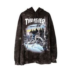 THRASHER 13 WOLVES HOODIE / BLACK TIE-DYE (2,260 MXN) ❤ liked on Polyvore featuring tops, hoodies, sweatshirts, clothing - hoodies, tie dyed hoodies, hooded pullover, cotton hoodies, tie dye hoodies and tie dye hoodie