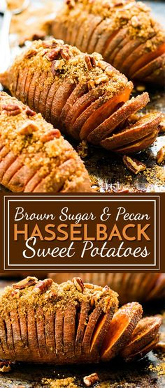Hasselback Sweet Potatoes with Brown Sugar & Pecans. Hasselback Sweet Potatoes with Brown Sugar & Pecans - Paleo Recipes Holiday Side Dishes, Thanksgiving Side Dishes, Thanksgiving Recipes, Holiday Recipes, Side Dishes For Turkey, Side Dishes For Ham, Gluten Free Thanksgiving, Main Dishes, Sweet Potato Pecan