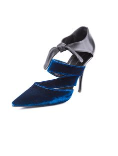 Balenciaga Pumps  Blue and black pumps with velvet toe box and strap detail and leather ankle strap and tonal top stitching. Includes original box.