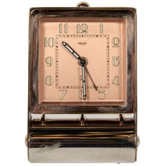 Art Deco Rose Gold Table or Travel Alarm Clock | From a unique collection of antique and modern clocks at https://www.1stdibs.com/furniture/more-furniture-collectibles/clocks/
