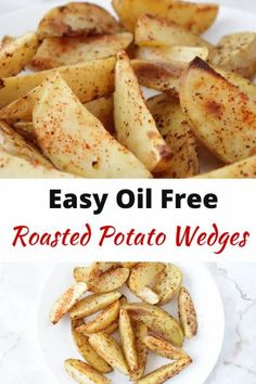 It is so easy to bake potato wedges or french fries without oil! This oil-free roasted potato wedges recipe is healthy and the perfect food on a whole food plant based diet when you are craving some fries! Are potato wedges unhealthy? No! It's what we do to potatoes that make them unhealthy - butter, cheese, oil, sour cream. This vegan recipe is WFPB compliant. #roastedpotatowedges #healthyveganrecipes #wfpb #plantbased #oil-free #vegan Roasted Potato Wedges, Potato Wedges Recipe, Roasted Potatoes, Vegan Snacks, Healthy Snacks, Vegan Recipes, Snack Recipes, Potato Recipes, Plant Based Snacks