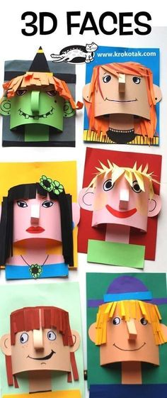 Arts and crafts for kids - children activities, more than 2000 coloring pages & art faces Kids Crafts, Arts And Crafts, Paper Crafts, Paper Toys, 3d Paper Art, Art 3d, Easy Crafts, School Art Projects, Projects For Kids