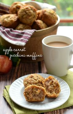 Apple Carrot Zucchini Muffins | www.wineandglue.com | The most delicious muffins with some sneaky vegetables on the side!