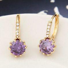 Used purple diamond decorated round shape design copper Stud Earrings http://earrings.asumall.com/