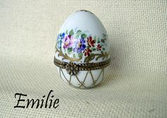 EMILIE - Painted Eggs  AF Limoges Boxes Hand painted Porcelain from Limoges, France.
