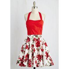 Traveling Cake Pop Truck Dress in Crimson Bouquet ($70) ❤ liked on Polyvore featuring dresses, pocket dresses, white plaid dress, halter neckline dress, halter top and white halter top