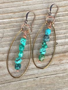 Turquoise hoop earrings, genuine turquoise nugget earrings, turquoise and copper jewelry #wirejewelry