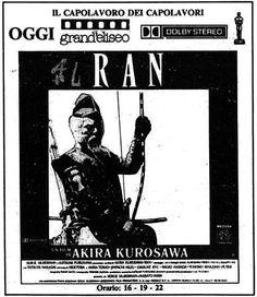 """""""RAN"""" (RAN, 1963) di Akira Kurosawa, con Tatsuya Nakadai e Akira Terao. Italian release: April 1st, 1986 #MoviePosters"""