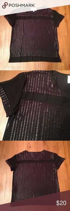 Black vince camuto top Brand new without tag. Purchased at Dilliard's. Women's size small. Brand is Two by Vince Camuto. Solid black parts at top and shoulder are sheer material. Material: 96% rayon 4% spandex. Two by Vince Camuto Tops Blouses