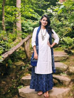 Wearing indigo skirt and scarf with a white kurta, accessorized with a statement coin necklace. Indigo hand dyed cotton skirt with Indigo scarf. Salwar Designs, Kurta Designs Women, Kurti Designs Party Wear, Blouse Designs, Dress Designs, Dress Indian Style, Indian Wear, Indian Designer Outfits, Indian Outfits