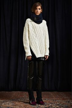 this sweater, oxblood leather leggings, ankle boots.    3.1 Phillip Lim  Pre-Fall '13  Look 36