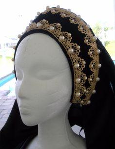 Lady Grace Tudor Renaissance French Hood Headpiece Hat 4 Dress Gown Necklace Set | eBay