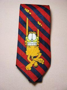 Garfield Neck Tie Balancine Hot Cakes United Feature Syndicate 1978 EUC Stripes #Balancinehotcakes #Tie