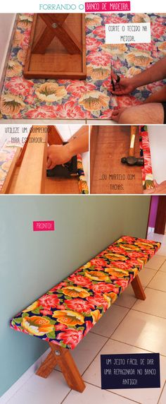 diy bench cover in another language Painted Furniture, Diy Furniture, Deco Nature, Ideias Diy, Inspired Homes, Decoration, Repurposed, Diy Home Decor, Diy And Crafts